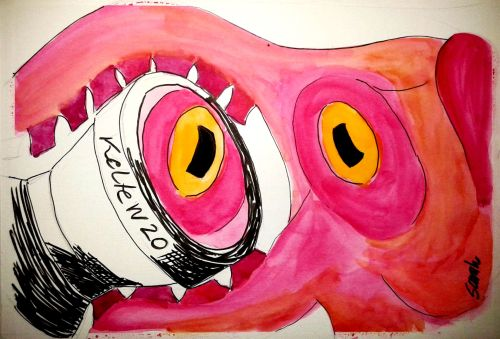 Octopus and lens. Watercolor and ink on paper. Credit: Sarah Frias-Torres