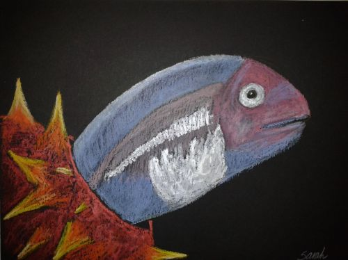 Pearlfish hiding in a sea cucumber. Iridescent oil pastels. Credit: Sarah Frias-torres